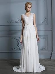 Ivory Chiffon V Neck A Line Princess Court Train Wedding Dresses