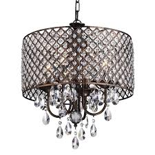 fancy drum crystal chandelier 5 0000828 18 gocce modern string shade round polished chrome with black white silver s