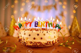 Happy Birthday Cake With Candles Stock Photo Picture And Royalty