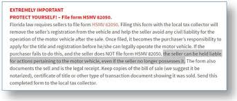 florida form 82050 how to protect yourself from liability when selling your used car