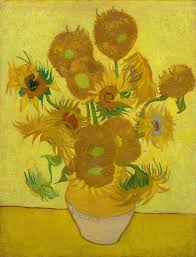 vincent van gogh  a ceramic vase sunflowers on a yellow surface against a bright yellow background