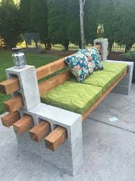 Outdoor: Beautiful DIY Cinder Block Bench - Bench Garden