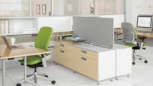 modular office workstation with freestanding desk and built in office storage built office storage