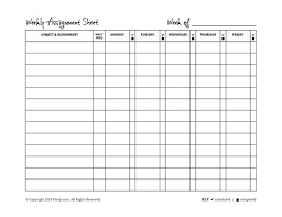 Free Homework Planner Weekly Assignment Planner Sheet Template Free Homework Lccorp Co