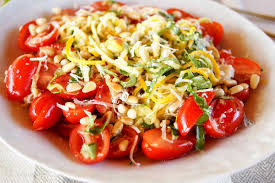 gluten free low carb super healthy zucchini noodle salad made with summer