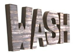 This 24.00h wooden and metal truck wall decor hanging sign. Farmhouse Wash Letters Sign For Bathroom Home Wall Decor House Of Crazi