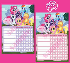 Printable My Little Pony Theme Personalised Behavior By