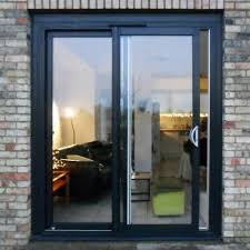glass and aluminum black sliding glass