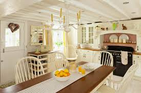 Country Cottage Kitchen Cabinets Country Cottage Kitchen Decor Three Yellow Fiberglass Bar Stools