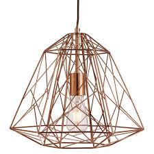 searchlight geometric cage 1 light frame pendant shiny copper 7271cu 01 1