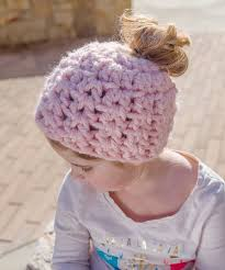 Ponytail Beanie Crochet Pattern Inspiration Messy Bun Hat Pattern Collection Red Heart