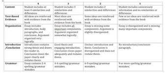 how to set a grading rubric for literary essays com lesson summary