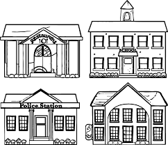 Small Picture Restaurant School Police Building Coloring Page Wecoloringpage