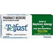 Telfast Non-Drowsy Hayfever Allergy or Itchy Skin Relief 180mg ...