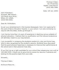 Cover Letter For Physical Education Teacher Major