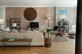 rustic living room design with brown brick wall wooden chairs the wooden table and cream sofa brick living room furniture