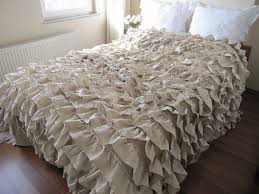 items similar to 40 oatmeal beige waterfall ruffled bedding queen bedspread coverlet blanket linen shabby chic country bedding turkish buldan fabric