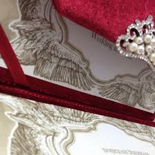 red couture velvet invitation with luxury pearl crystal crown Red Velvet Wedding Invitations red velvet envelope opened with wedding invitation card Wedding Invitation Templates