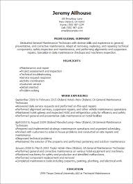 Maintenance Technician Resume Delectable Manufacturing Technician Resumes Morenimpulsarco