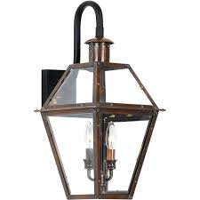quoizel ro8411ac aged copper rue de royal 2 light 22 tall outdoor wall sconce with clear glass lightingdirect com