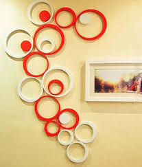 wow interior 3d red and white circles wall sticker at rs 299