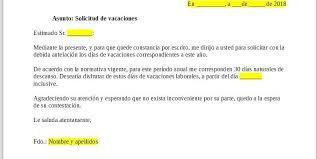 Formato De Carta De Solicitud Solicitud De Vacaciones Formato Y 5 Modelos En Word Y Pdf