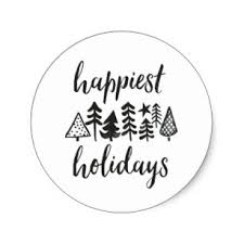 happy holidays black and white. Modren Holidays Happy Holidays Watercolor Christmas Trees Round Classic Sticker On Black And White