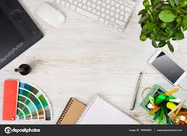Graphic Designer At Desk Graphic Designer Desk Essentials Over Wooden Texture