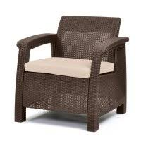 plastic patio chairs walmart. Keter Corfu Resin Armchair With Cushions, All-Weather Plastic Patio Furniture, Brown Rattan Chairs Walmart T