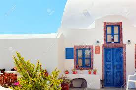 blue door house. Stock Photo - Traditional Greek House With Blue Door And Windows, Santorini Island, Greece.