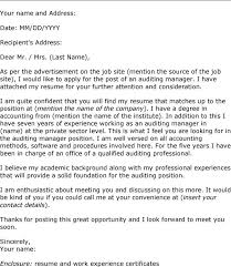 Awesome Collection Of Sample Cover Letter For Audit Manager Position