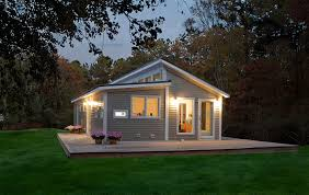 Charming Prefab House Design Idea With Gray Wall White Lamps In  Prefabricated Balcony