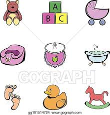 Baby Things Clipart Vector Stock Baby Things Icons Set Cartoon Style Clipart