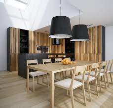 kitchen table lighting dining room modern. Contemporary Loft Dining Room Tables Light And Dark Wood Kitchen Table With Two Drum Shade Hanging Lamps Over-Pine White Plafond Ideas Lighting Modern