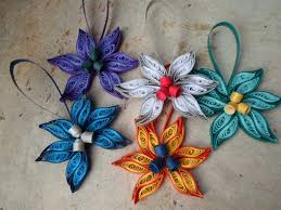 Paper Christmas Tree Ornaments Quilled Christmas Tree Ornaments Set Of 5 Paper Decorations