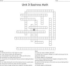 business math unit d business math crossword wordmint