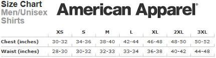 American Apparel Measurement Chart Test Rifter T Shirt