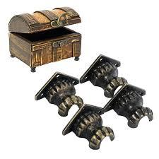 chest hardware antique brass zinc alloy retro jewelry chest wood box decorative feet leg corner protector