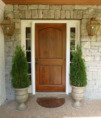 Wood Front Door Urn Planters Brass Carriage Lanterns Stone Wall