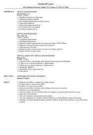 Reception Resume Dental Receptionist Resume Samples Velvet Jobs