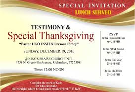 Best Sample Church Invitation Cards Thanksgiving Day Testimony