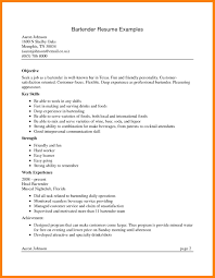 Bartending Resume Example Objective Bartender Samples Sample Resumes