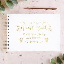 Wedding Guest Book Calligraphy Botanical Personalised Wedding Guest Book