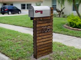 Decorations:Homey Wooden Creative Mailbox With Levels Of Logs Contain House  Number And Mailbox Shape