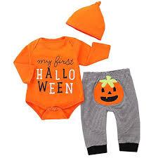 Borlai 3pcs/Set <b>Baby Halloween Pumpkin</b> Outfits My First <b>Halloween</b> ...