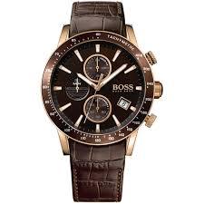 tachymeter hugo boss watches men s rafale brown strap rose gold chronograph watch hugo boss