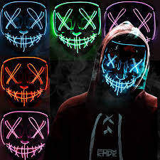 Light Up Mask Us 6 99 50 Off Halloween Led Mask Cosplay Dj Party Neon Light Up Masks Masquerade Carnival Costume Props On Aliexpress