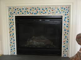 glass mosaic fireplace surround in silver coloring ideas