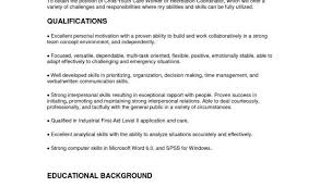 Examples Of A Good Resume For A Job And Child Care Resume Cover