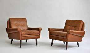 pair of s leather lounge chairs by svend skipper at stdibs